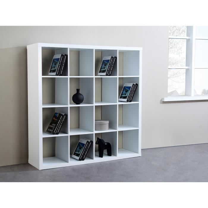 cubico cubes de rangement biblioth que 16 niches l149cm pvc blanc achat vente meuble. Black Bedroom Furniture Sets. Home Design Ideas