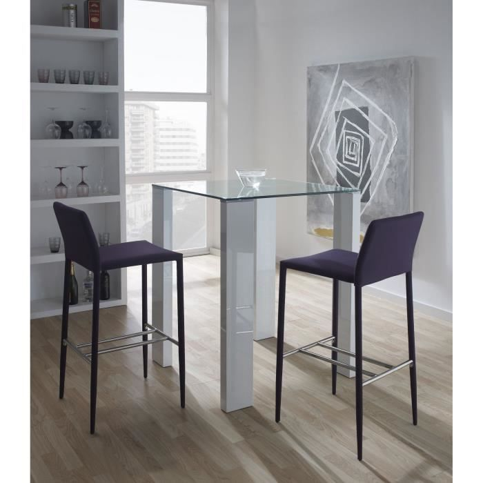 Leila table de bar 80x80cm blanc achat vente mange for Achat table bar