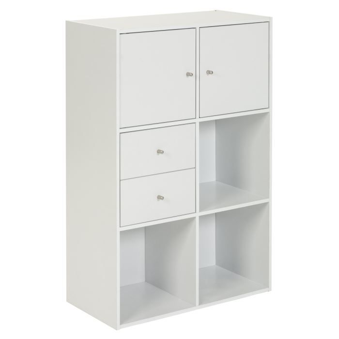 Optima cube 6 cases blanc 2 portes et 2 tiroirs achat for Meuble cube 6 cases