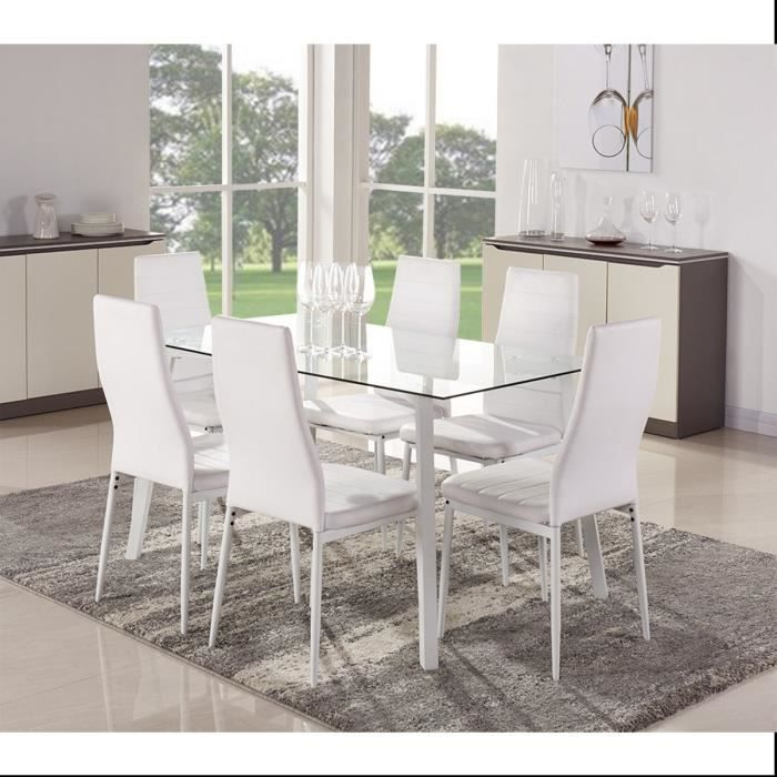 Solis ensemble table manger 6 chaises en simili blanc for Table a manger chaises