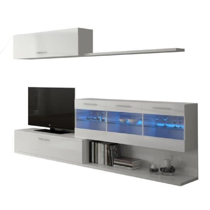 aral meuble tv mural avec led contemporain blanc brillant l 260 cm achat vente meuble tv. Black Bedroom Furniture Sets. Home Design Ideas