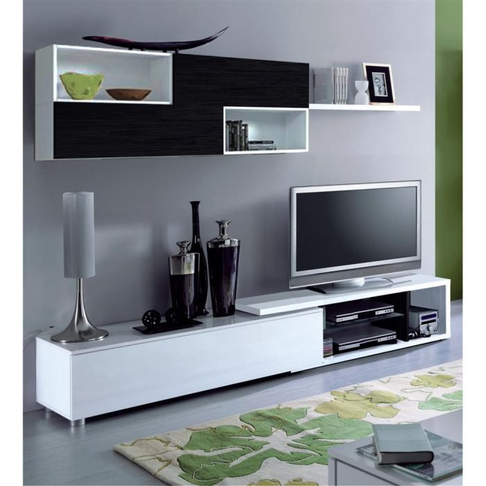 next meuble tv mural 240 cm blanc noir achat vente meuble tv next meuble tv mural panneau. Black Bedroom Furniture Sets. Home Design Ideas