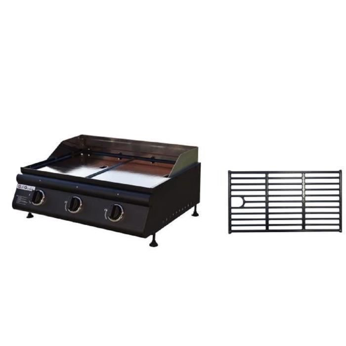 grill garden plancha gaz 3 feux plaque fonte amovible spatule et grille offerte achat. Black Bedroom Furniture Sets. Home Design Ideas