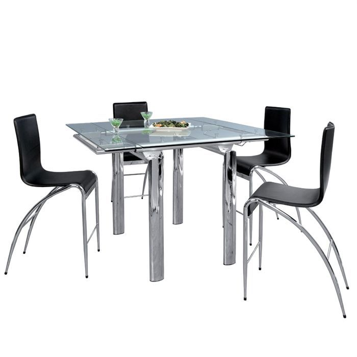 DITTA Table à manger haute chrome/verre - Achat / Vente table à ...