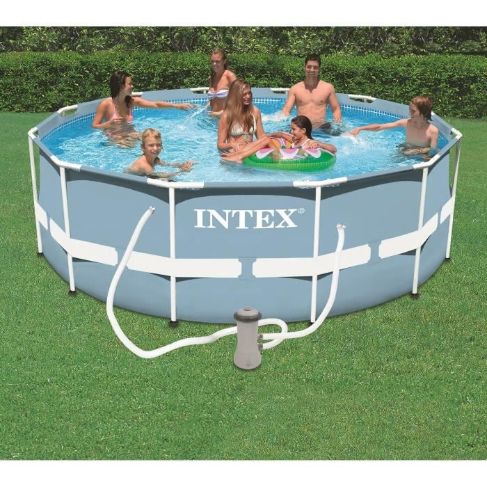 Kit piscine tubulaire intex ronde 3 66 x 1 22m achat for Piscine ronde intex