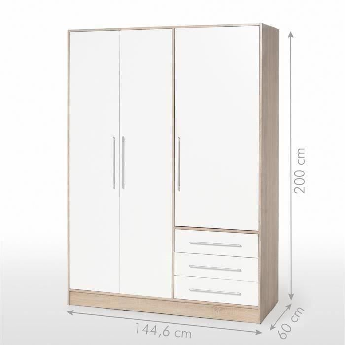 jupiter armoire de chambre style contemporain en bois agglom r ch ne et blanc l 144 6 cm. Black Bedroom Furniture Sets. Home Design Ideas