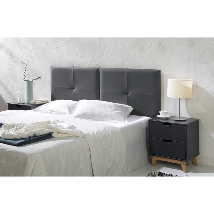 capi t te de lit 160 cm en simili anthracite achat. Black Bedroom Furniture Sets. Home Design Ideas