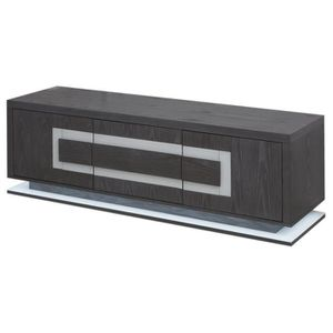 MEUBLE TV CRYSTAL Meuble TV LED contemporain plaqué gris mat