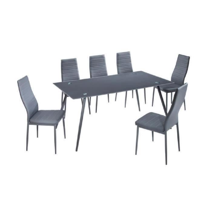 home ensemble table manger 6 personnes 160x90 cm 6 chaises en simili gris