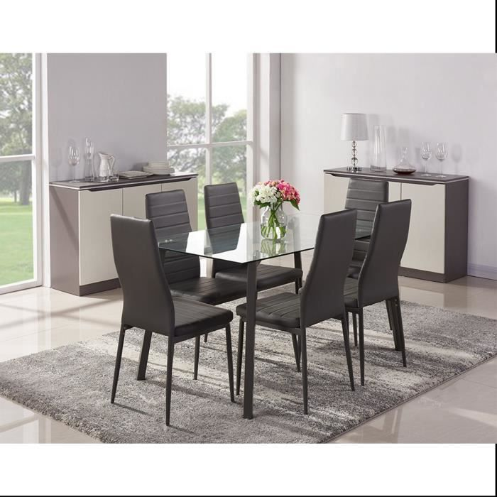 Solis ensemble table manger 6 chaises en simili gris for Chaises table a manger