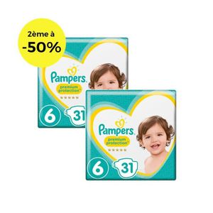 COUCHE PAMPERS Premium Protection Géant T6 X31 Lot de 2