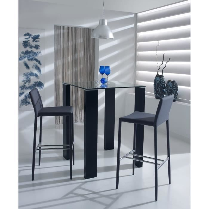 leila table de bar 80x80cm verre noir achat vente meuble bar leila table de bar noir mdf. Black Bedroom Furniture Sets. Home Design Ideas