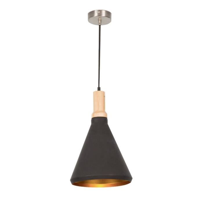 Lustre suspension en m tal 26x138 cm e27 40 w noir for Lustre en metal noir