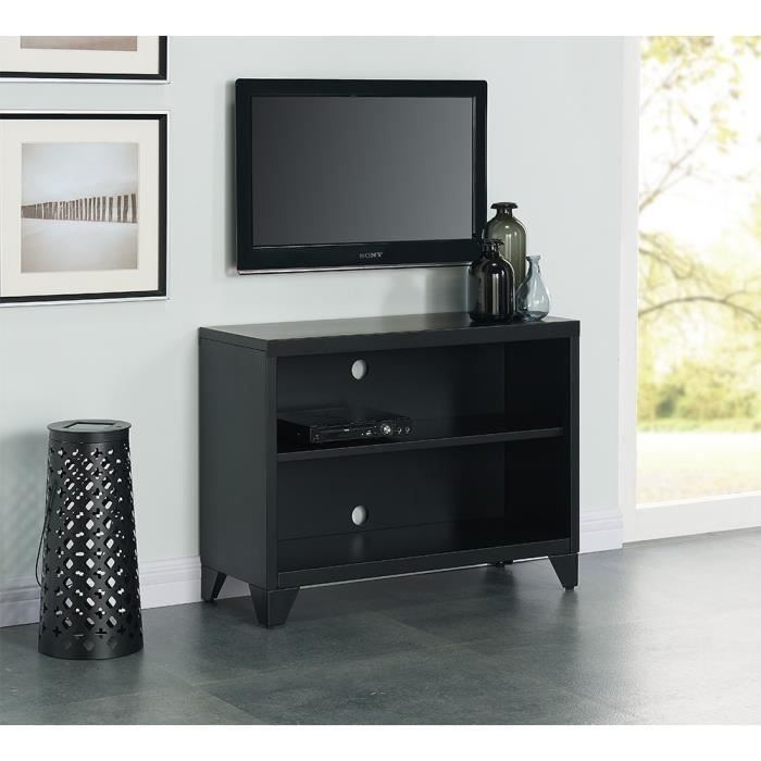 camden meuble tv en m tal 80 cm noir laqu achat. Black Bedroom Furniture Sets. Home Design Ideas
