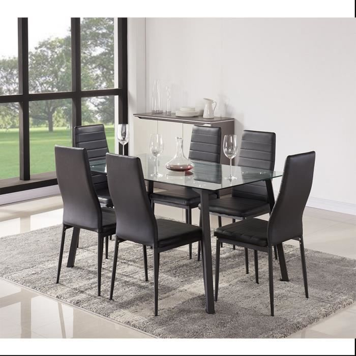 solis ensemble table manger 6 personnes 140x80 cm 6 chaises en simili noir achat vente. Black Bedroom Furniture Sets. Home Design Ideas