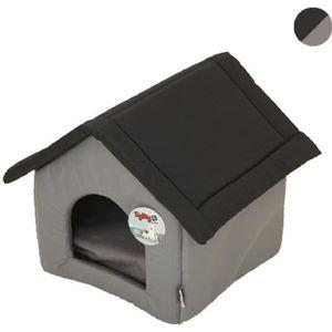CORBEILLE - COUSSIN Maison Pagode 47 x 39 x 42cm noir/gris pour chat