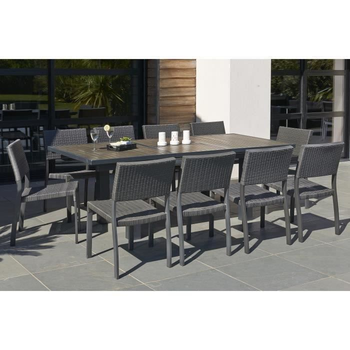 Ensemble table extensible de jardin 160 220 cm 6 chaises r sine tress e anthracite achat - Table salon de jardin resine tressee ...
