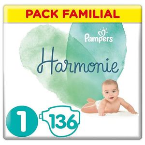 COUCHE PAMPERS Harmonie Taille 1, 2-5 kg, 136 Couches (2x