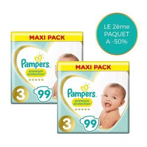 COUCHE PAMPERS Premium Protection Taille 3 - 198 couches