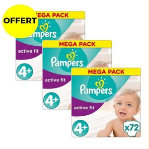 COUCHE PAMPERS Active Fit Taille 4+ - 9 à 20 kg - 216 cou