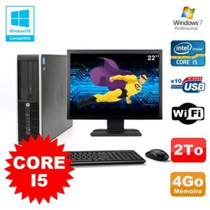 UNITÉ CENTRALE + ÉCRAN Lot PC HP Elite 8200 SFF Core I5 3.1GHz 4Go 2To DV
