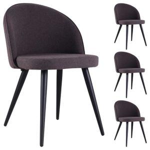 CHAISE Lot de 4 chaises SOFT en tissu gris pour salle à m