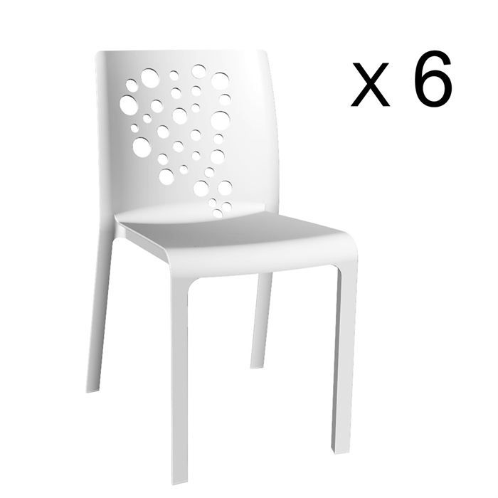 cocktail lot de 6 chaises r sine rotomoul e blanc achat. Black Bedroom Furniture Sets. Home Design Ideas