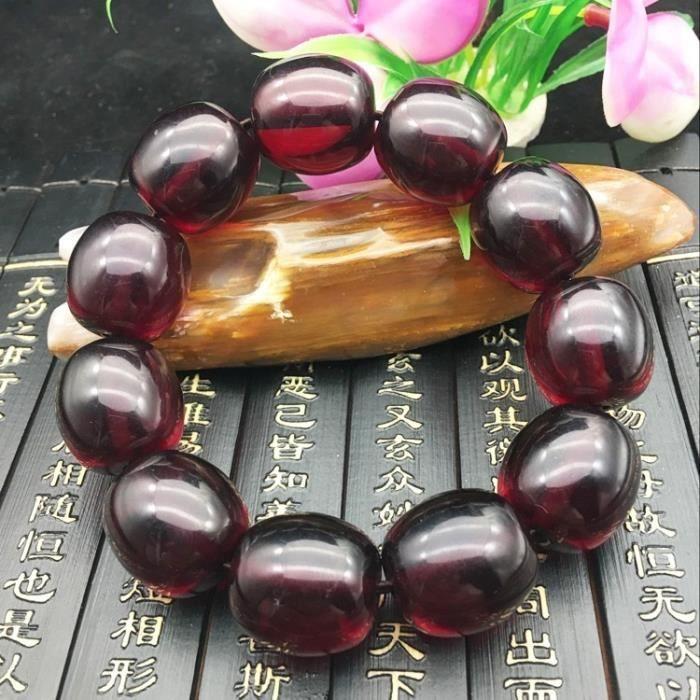 Naturel Baltique Vin Rouge Sang Perle Baril Perle Bracelet Main Chaîne Nude Pierre _Rouge