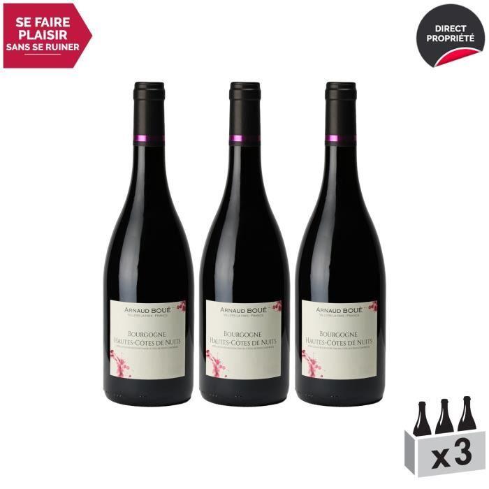Bourgogne Hautes Côtes de Nuits Rouge 2018 - Lot de 3x75cl - Arnaud Boué - Vin AOC Rouge de Bourgogne - Cépage Pinot Noir
