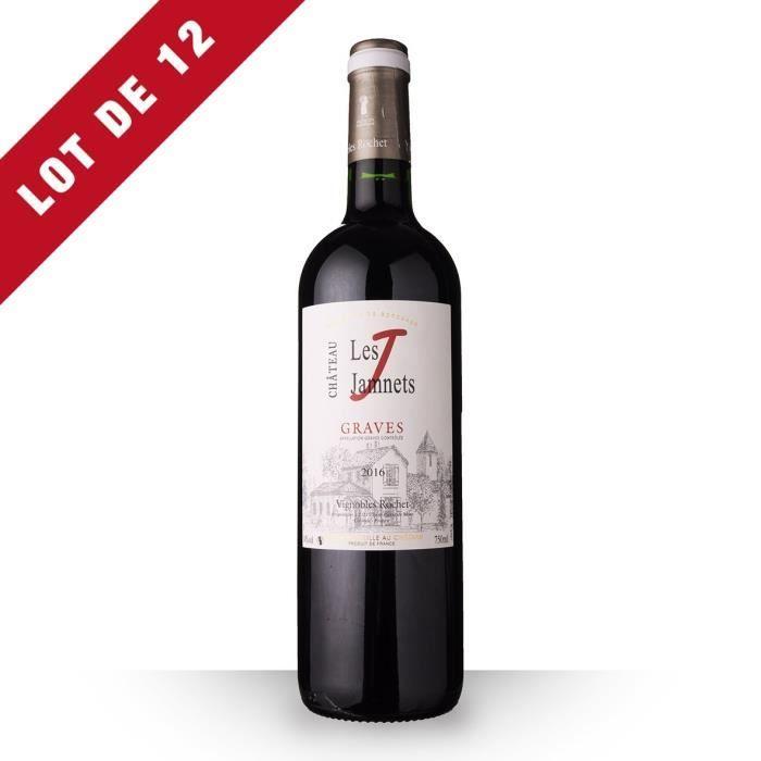 Lot de 12 - Château Les Jamnets 2016 AOC Graves - 12x75cl - Vin Rouge