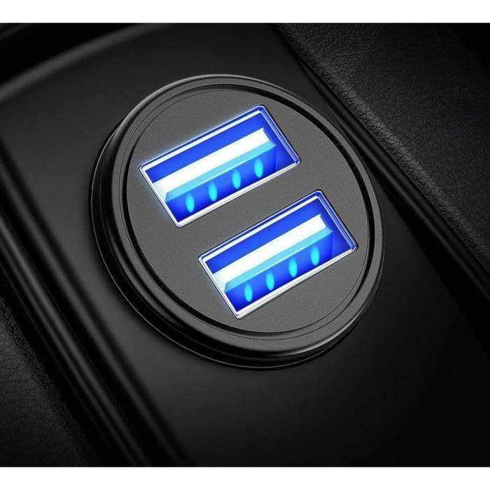 Mini Double Adaptateur Metal Allume Cigare USB pour Smartphone XIAOMI Mi 9T Prise Double 2 Ports Voiture Chargeur Unive (NOIR)