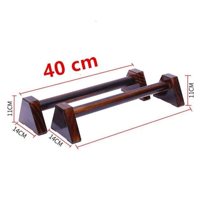 40CM en bois Push Up Stands 1 paire support de support Balance barre parallèle H en forme de Double t - Modèle: Black -