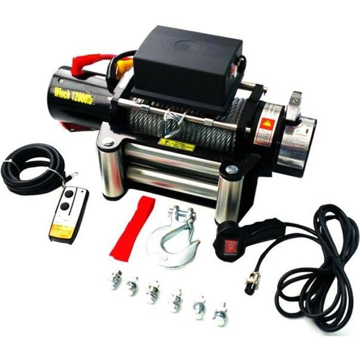 Varan Motors Treuil électrique 12V 5443KG 4800W, Treuil à câble longueur 28m Ø9.1mm