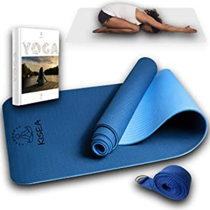 Tapis De Yoga Et Sangle - Pour Le Yoga Chin Mudra, Pilates, Gymnastique À La Maison – En Caoutchouc Naturel Bio Et La Sangle En