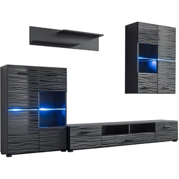 LUSIE - Unité murale style contemporain 4 pcs - Éclairage LED inclus - Mur TV - Ensembles meubles salon séjour - Gloss + Mat - Noir