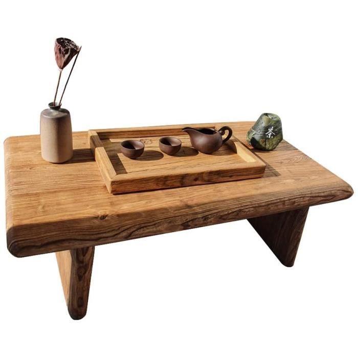 Table basse de jardin Tables basses Table D'appoint Table D'appoint en Vieux Orme Vieilli Table en Bois Massif Simple Plateforme 604