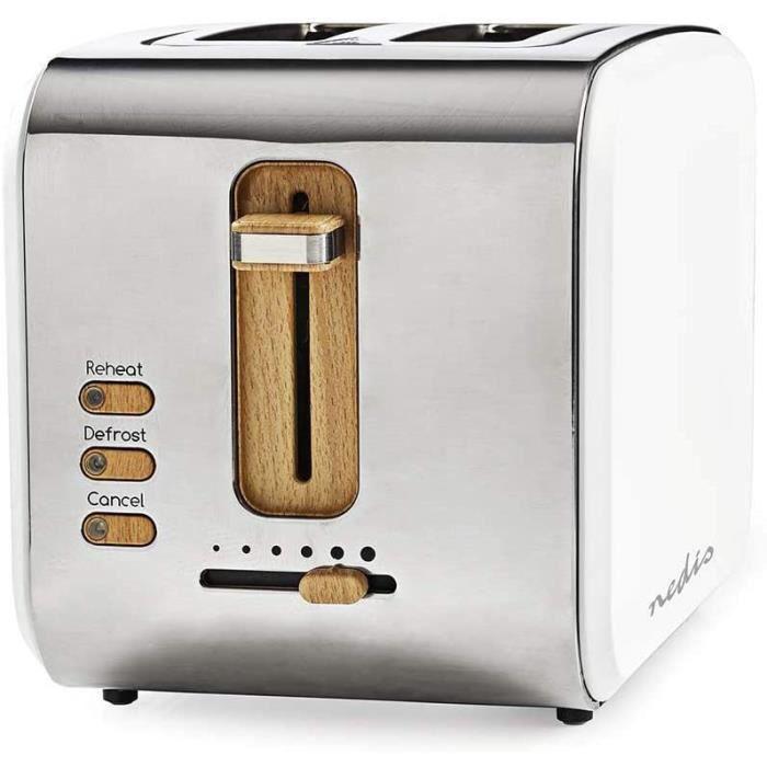 NEDIS KABT510EWT Grille-Pain - 2 Fentes Larges - Doux au Toucher - Blanc
