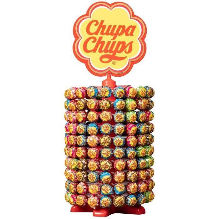 CHUPA CHUPS Rueda de 200 sucettes - Parfums fraise, pomme, cerise, cola, lait fraise et choco vanille