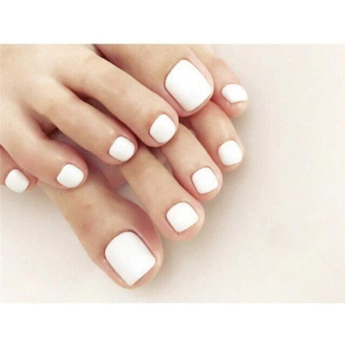 Faux ongles Yienate Faux Ongles pour Orteil Chic Exquis De Mari&eacutee Blanc Faux Ongles pour Orteils Pleine Couverture Ongles 91