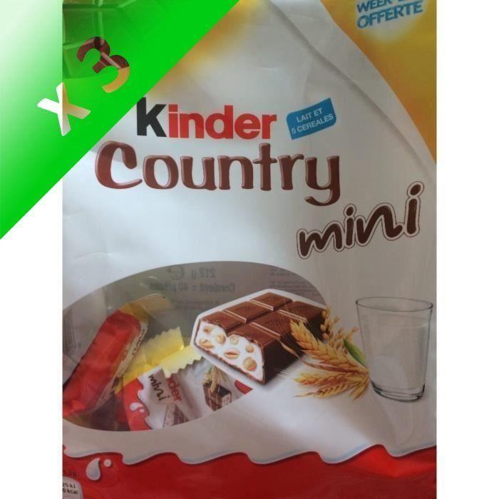[LOT DE 3] KINDER Gaufrettes chocolatées Country Mini T40, au lait et 5 céréales - 212 g