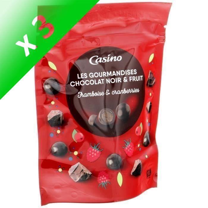 [LOT DE 3] LES GOURMANDISES Chocolat noir, goûts framboise et canneberge - 125 g