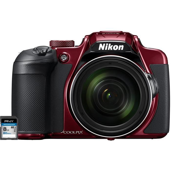 NIKON COOLPIX B700 Appareil photo Bridge rouge + Carte mémoire SDHC 8 Go