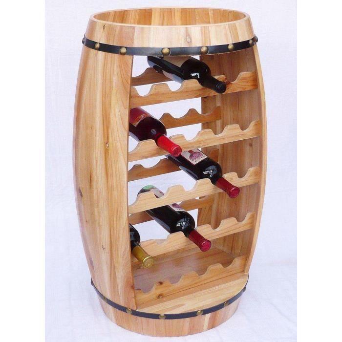 DanDiBo Casier à vin Tonneau à vin Tonneau en bois H-81cm Nr.0370 Porte-bouteilles Etagère vernis nature