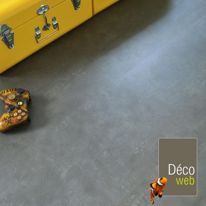 Dalles sol PVC Clipsable - Click 5G - Aspect Béton anthracite (1,49 m²)