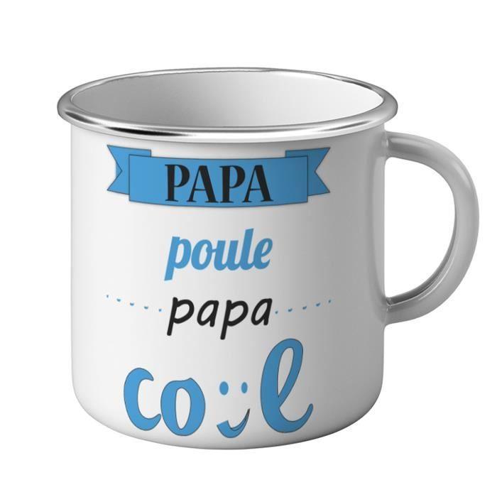 Mug Métal Tasse Papa Poule Papa Cool Bleu