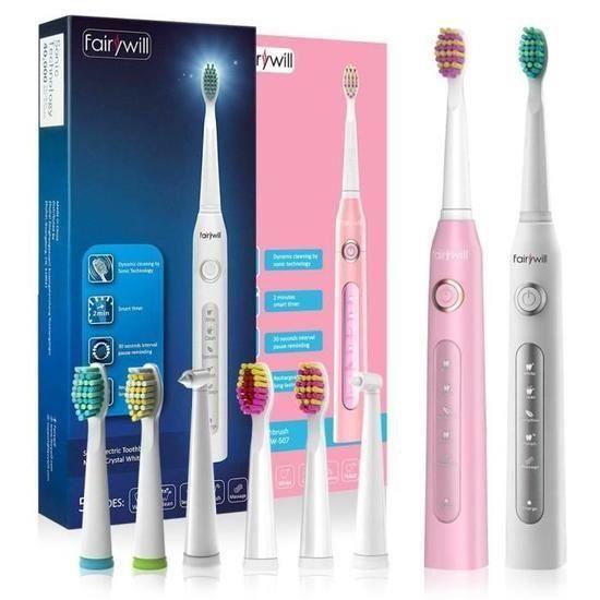 Brosse à Dents Électrique Rechargeable,brosse à dents sonic,rose et blanc