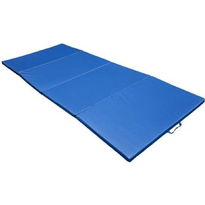 Tapis de sol gymnastique natte de gym matelas fitness pliable portable 10 pieds bleu 04