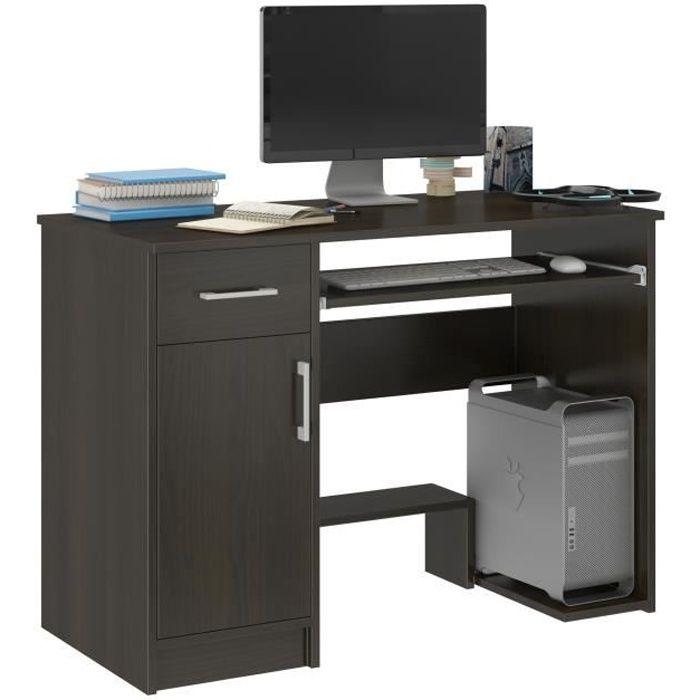 LONDON - Bureau moderne informatique d'ordinateur 90x50x73 - Support clavier Niche ordinateur PC -Wengé