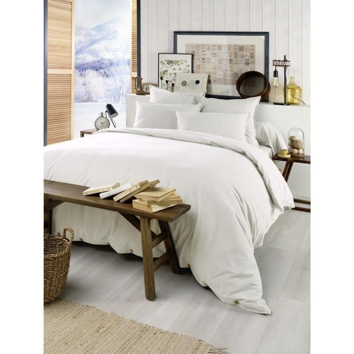 Housse de couette chaude en flanelle 200 x 200 cm Candice Blanc