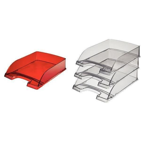 5 x bac à courrier Plus Transparent, A4, gris tra